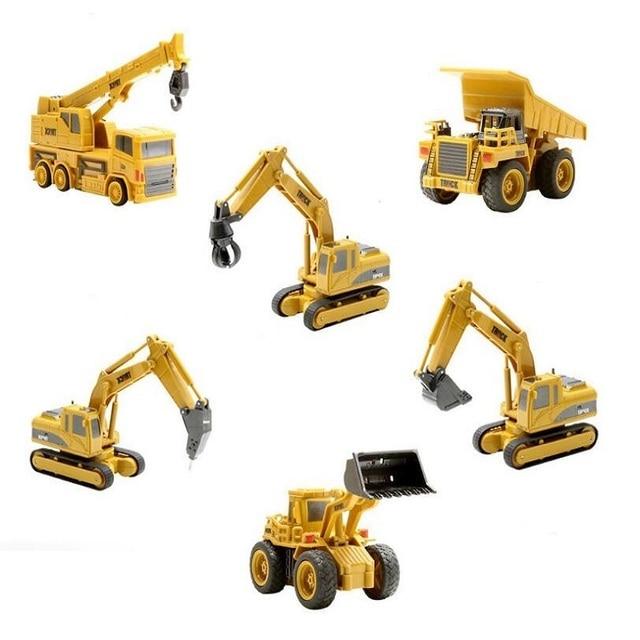 Constrction Truck 1:64 Mini Cartoon Car Tractor Trattore Excavator Bulldozer Crane Model Remote Control Toys Gift for Children