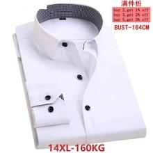 الرجال كبيرة الحجم الأعمال مكتب الأعمال عادية كم طويل التلبيب الشريط 10XL 11XL 12XL 13XL 14XL قميص أبيض 6XL 7XL 8XL 9XL