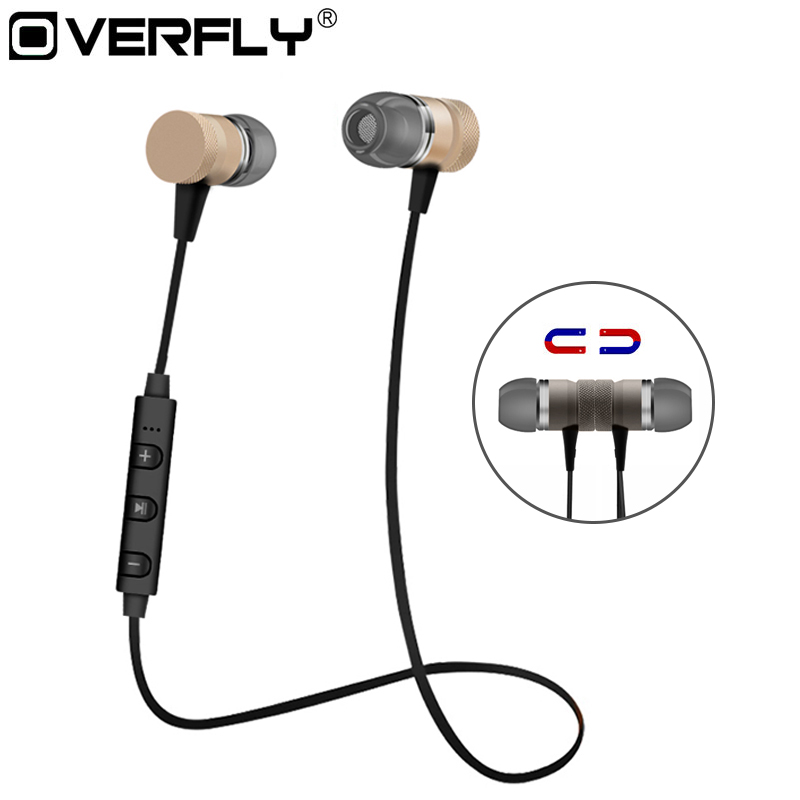 Overfly M98 Wireless Bluetooth Earphones Metal Magnetic Sport Running Headphones Stereo Super Bass Headsets Earbuds With Mic w3 original metal magnetic earphones super bass stereo hifi headset sport running ear hook earbuds headphones with mic