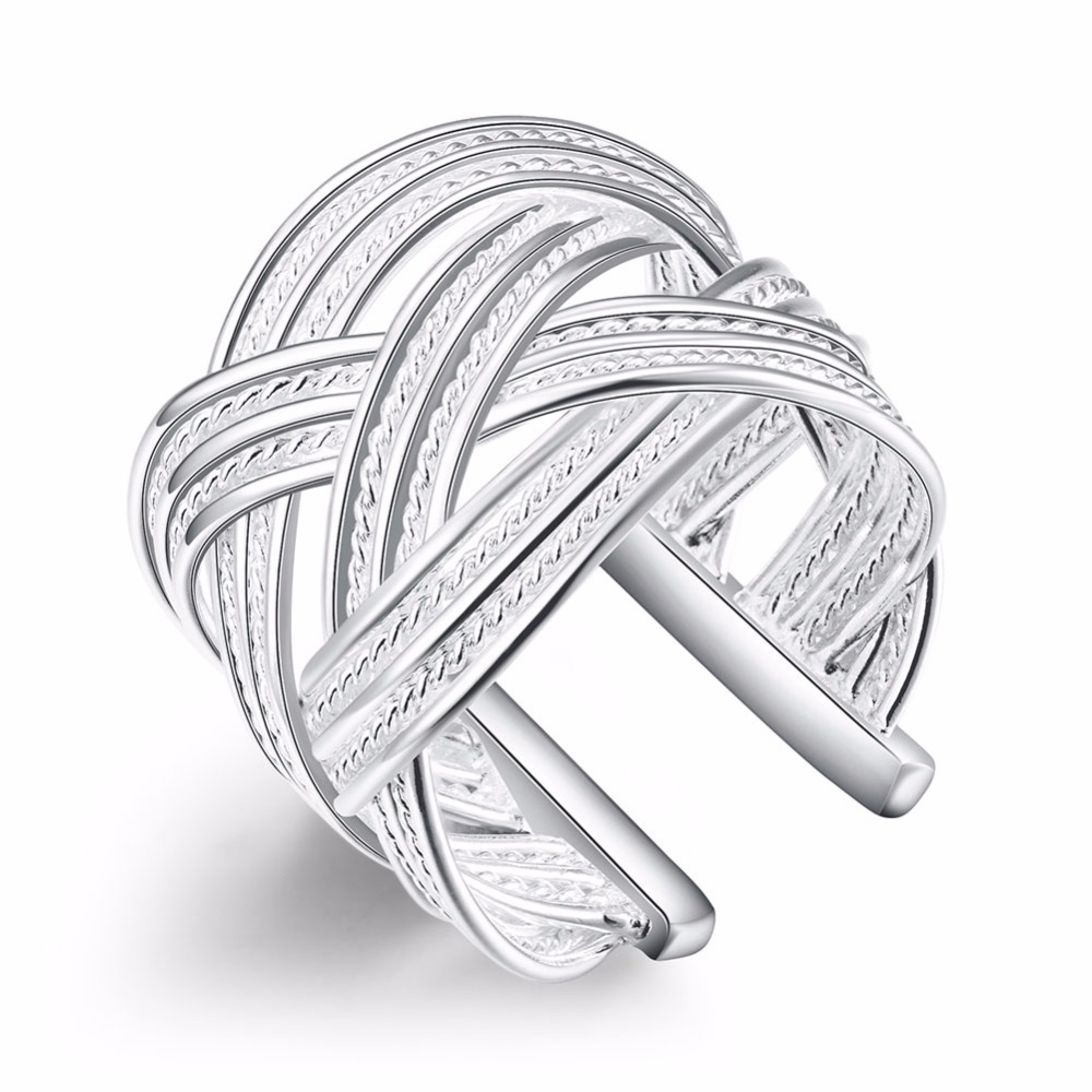 Wide rope unique style Open size larger finger wear 925 stamped silver plated Rings for simple life Party Fashion New Rings