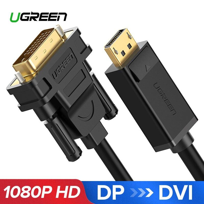 Ugreen 1080 p Displayport DP a DVI adaptador de Cable DP macho a DVI-D 24 + 1 macho a adaptador para proyector Monitor de TV PC portátil