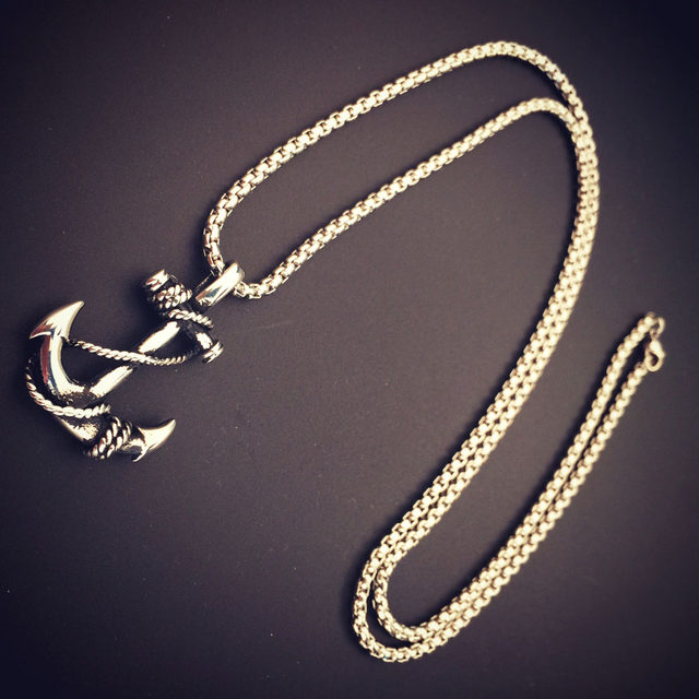 Online Shop Mens Stainless Steel Anchor Necklace trendy GoldSilver
