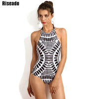 Riseado 2017 Swimwear Halter Sexy One Piece Swimsuit Bandage Swimwear Women Chinese Ink Summer Wear Bathing
