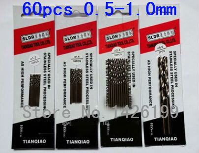 Free Shipping 60 Pcs 0.5-1.0 Mm Cobalt Containing High Speed Steel Co-HSS M42 Twist Drill Bits For Metal Drilling