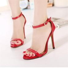 2016 Summer Fashion Women Sandals Open Toe Ankle Straps Sandals Red Bottom High Heels Suede Bridal Wedding Shoes Women Pumps