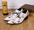 ntparker men Wedding shoes fashion men's shoes leather increased Height stylist White Print Wedding leather shoes Men, 38-46