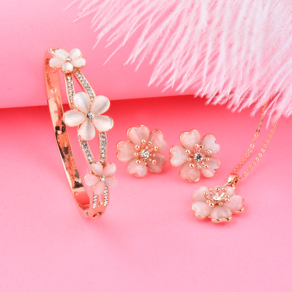 SINLEERY Trendy Flower Bridal Jewelry Sets Rose Gold-Color Opal Necklace Earring Bracelet Set Wedding Jewelry Bijoux  Tz164 SSD