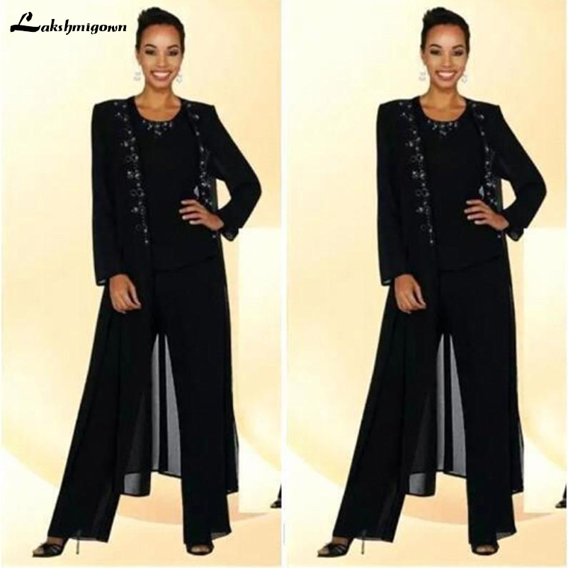 2018 Three Pieces Mother Of The Bride Plus Size Pant Suit Beaded Suit Black Chiffon Long Jacket Women's Dresses Wedding Outfit