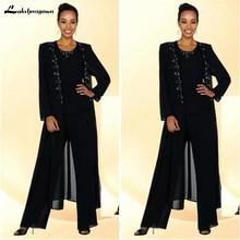 Костюм из трех предметов для мамы невесты размера плюс и штанов костюм из бисера Черный Шифоновый длинный жакет женские платья свадебный наряд