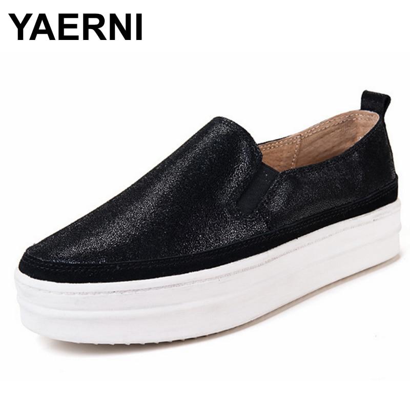 купить YAERNI  Genuine Leather platform shoes bottom Casual women shoes round toe silver gold Vintage oxford shoes for women US size 8 онлайн