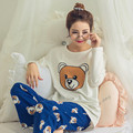 Spring Ladies Cute Long Sleeve Women's Sets Cartoon Bear Pajamas Sets White Crop Tops + Blue Trousers Pyjama Nightgown Homewear