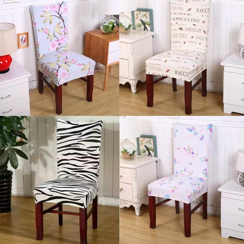 1Pcs Chair Cover Anti Mite Short Seat Decor Dining Room Printing Pattern Removable