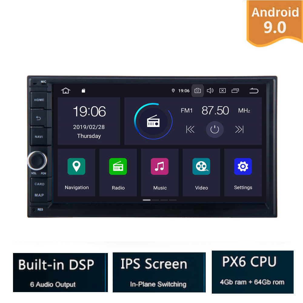 7 Android 9.0 PX6 4G+32G Universal Double 2 Din for Nissan Car Audio Stereo GPS Navigation Radio Car Multimedia