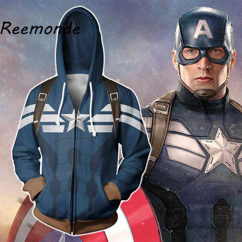 Avengers 4 Endgame Captain America Clothes With Hat Mens Hooded Sweatshirts Streetwear Steven Rogers Hoodies Jackets Coats Tops