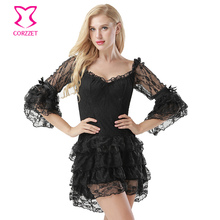 New Black Slash Neck Off Shoulder Floral Lace Flare Sleeve Layered Ruffles Victorian Steampunk Dress Women Sexy Gothic Dresses