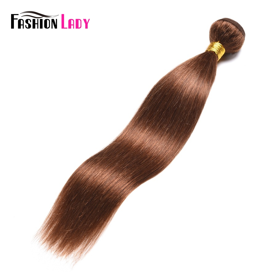 Fashion Lady Pre-colored Indian Human Hair Bundles Straight Hair #4 Medium Brown 1 Piece Hair Bundles Brown Non-remy