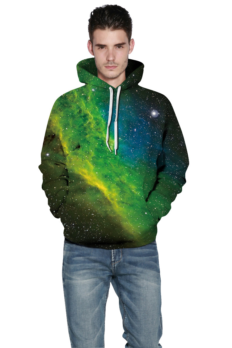 Mr.1991INC 2018 new Green starry sky printing 3d Sweatshirts Men/women hoodie sweatshirt Hooded Pullovers Men Hoodies M213