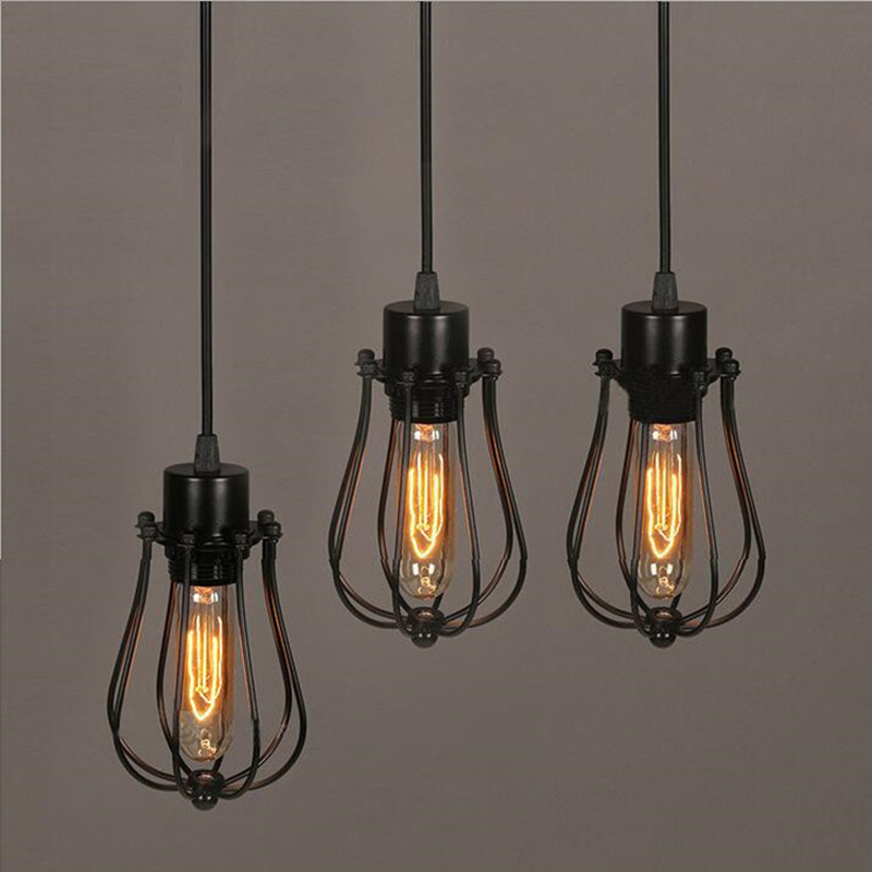 FRLED Pendant Light Loft Bar Nordic Classic Black  Bulb Wire Lamp Cage DIY Lampshade Industrial Guard Shade Lamparas frled pendant light loft bar nordic classic black bulb wire lamp cage diy lampshade industrial guard shade lamparas