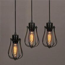 2017 Sale Lamparas Pendant Light top Fashion Wire Lamp Cage Diy Lampshade Industrial Guard Shade Classic Black Nordic Bulb