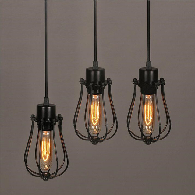 FRLED Pendant Light Loft Bar Nordic Classic Black  Bulb Wire Lamp Cage DIY Lampshade Industrial Guard Shade Lamparas