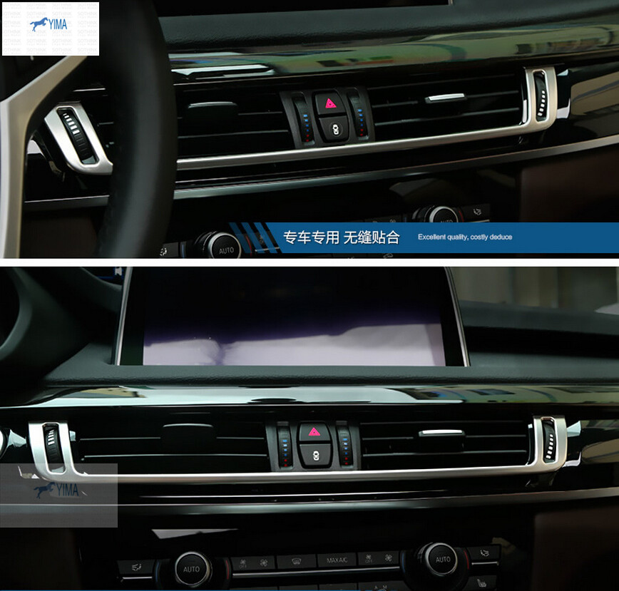 More Fashion ! For BMW X5 F15 2014-2016 / X6 F16 2015-2017 Steel Central Console Air Conditioning Outlet Vent Cover Trim for bmw x5 f15 2014 2016 x6 f16 2015 2016 2017 stainless steel central console air conditioning ac outlet vent cover trim