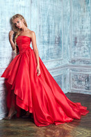 Party Dress Prom Dresses Elegant Simple Asymmetrical Strapless High Low Red Puffy Organza Vestido De Festa