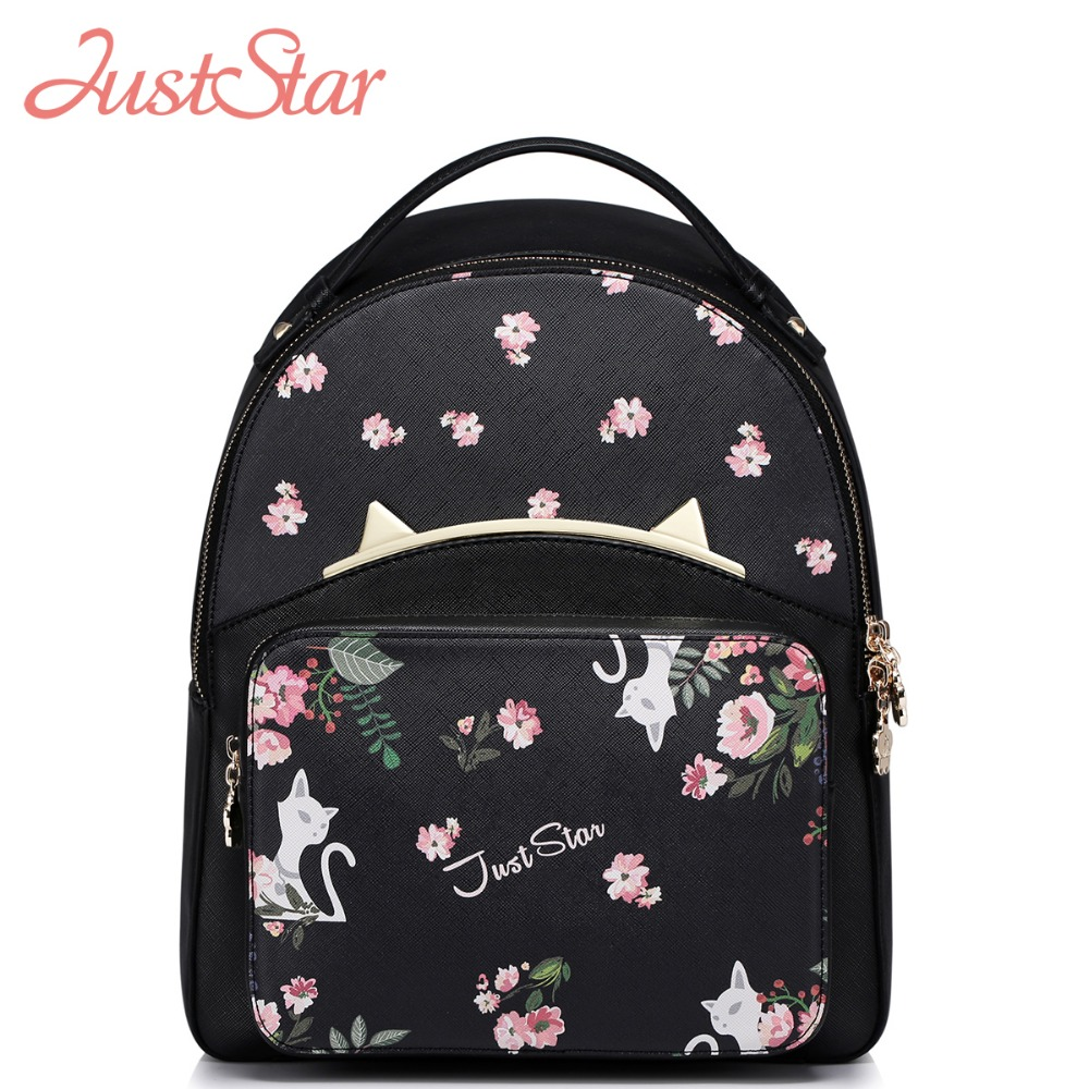 JUST STAR Women PU Leather Backpack Female Cartoon Printing Cat Daily Travel Shoulder Bags Girl's Backpack High Quality J983 high q cartoon rick and morty 2017 new arrival backpack students couple printing candy color leisure bags