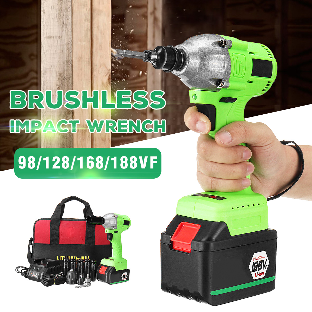 Electric Brushless 98/128/168/188VF Wrench Cordless Rechargeable Li-Ion Battery Electric Impact Wrench Drill Installation Tool electric impact wrench 98 128 168 188vf electric brushless li ion battery wrench 10mm chuk with box cordless speed control power