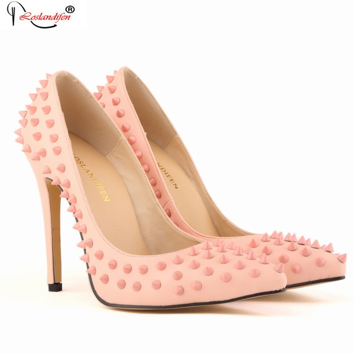 Plus Size Women Wedding Bridal Pumps Sexy Pink Luxury Designer Rivets Party Thin Heel Shoes Pointed Toe High Heels SMYBK-038 цены онлайн