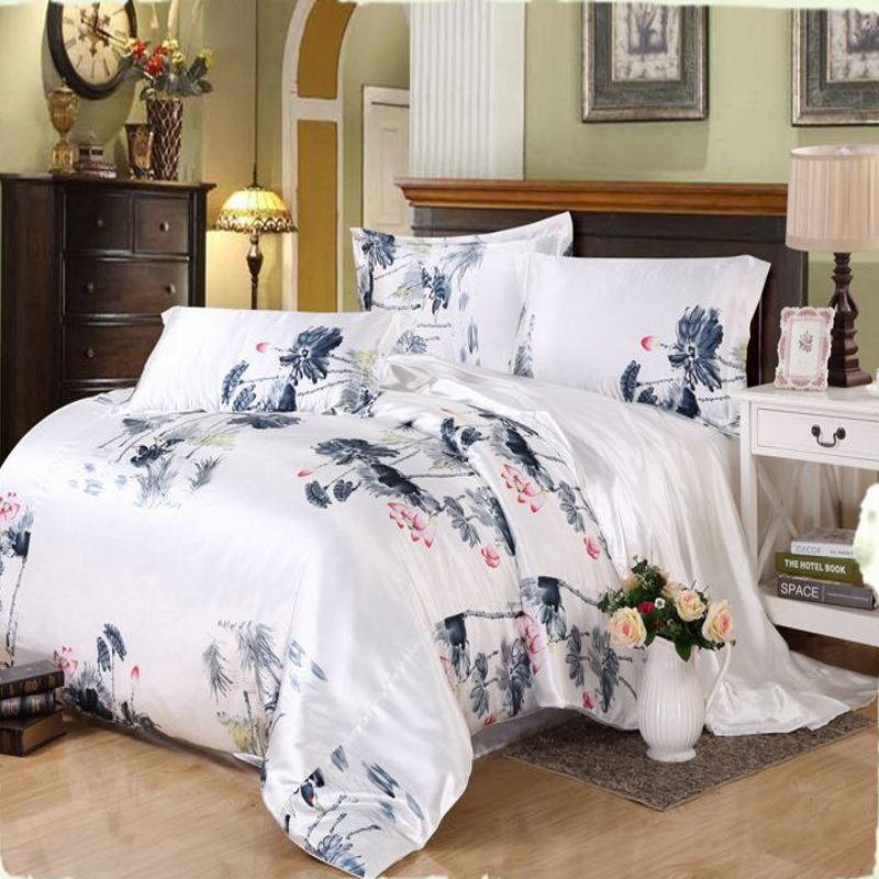 Solid White Black Gold Gray Satin Duvet Cover Twin Queen King 4pcs Imitate Silk Bedding Set Bedclothes Bed Linen In Sets From Home Garden On