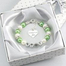 New Personalised Girl Birthday Wedding Gift Charm Bracelet Daughter With Box green