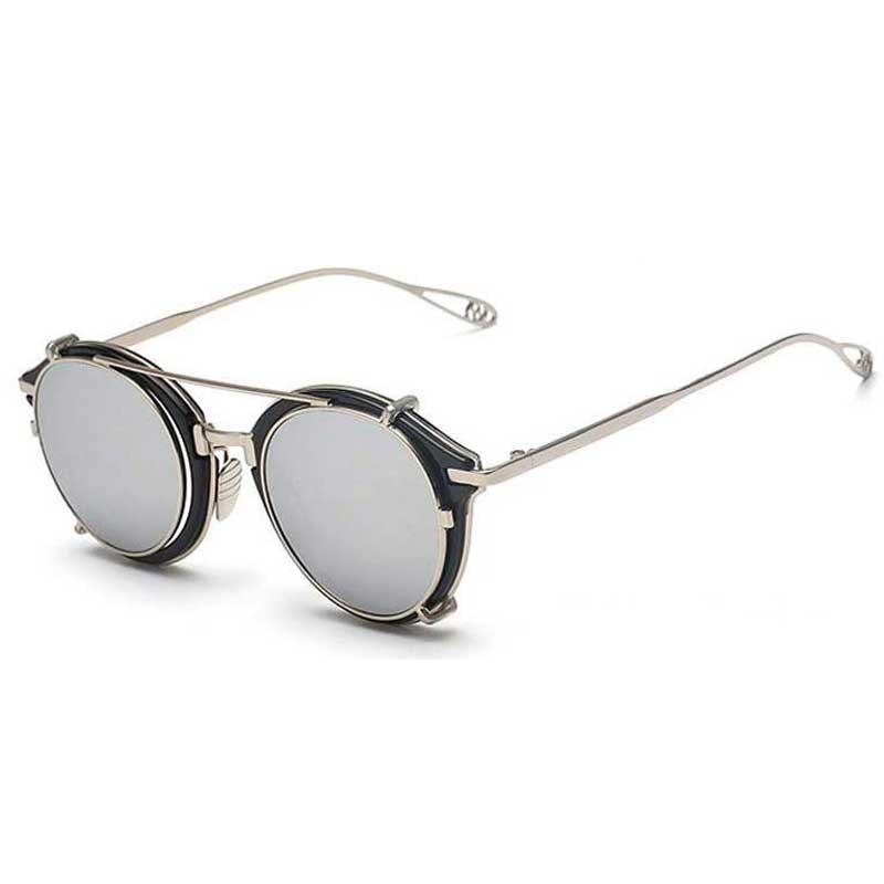 Fenck 2016 New Luxury Steampunk Sunglasses Men Round Metal Clip On Glasses Women Hipster Retro Cool Eyewear Circle Shade oO7V5