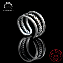 New Fashion Silver Plate Twist Weave Open Wide Adjustable Ring Three Layers Ring Vintage Ring For Women Bague Anillos