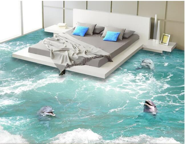 3d pvc flooring wallpaper custom waterproof self adhesion The waves a dolphin painting 3d wall ...