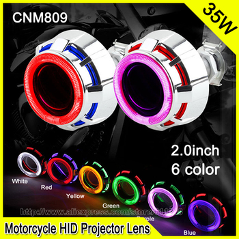 CNM808 2.0 Inch 35W Car & Motorcycle H1 H4 H7 Bi-xenon HID Projector Lens Motorcycle DRL Fog Headlight Double CCFL Angel Eyes