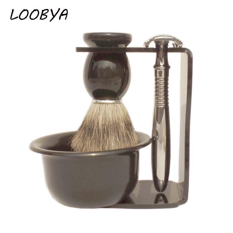 4pc/set Stainless Steel Double Edge Safety Shaving Razor with Badger Barber Brush Acrylic Beard Shave Stand Bowl 2pc set stainless steel man shaving safety razor and badger beard shave brush