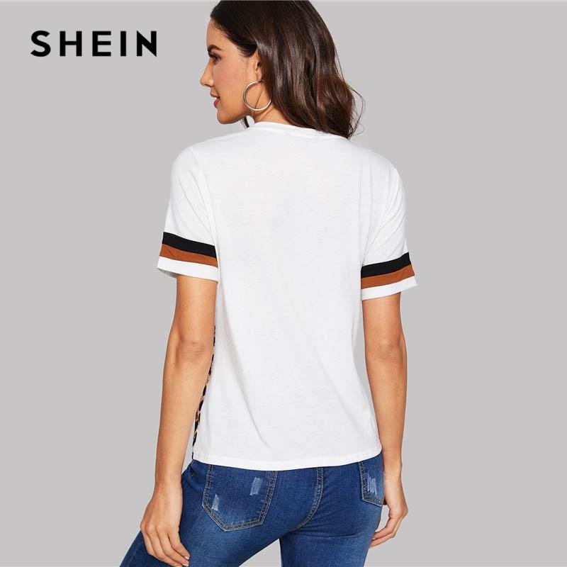 39f183f2e7 SHEIN White Leopard Casual T-Shirt – Katling