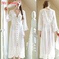 2016 Senhoras Quentes Sexy Lingerie Francesa Lace Branco Chiffon Vestido de Noiva Da Princesa vestido de Camisola Transparente Pijama Para As Mulheres Grávidas