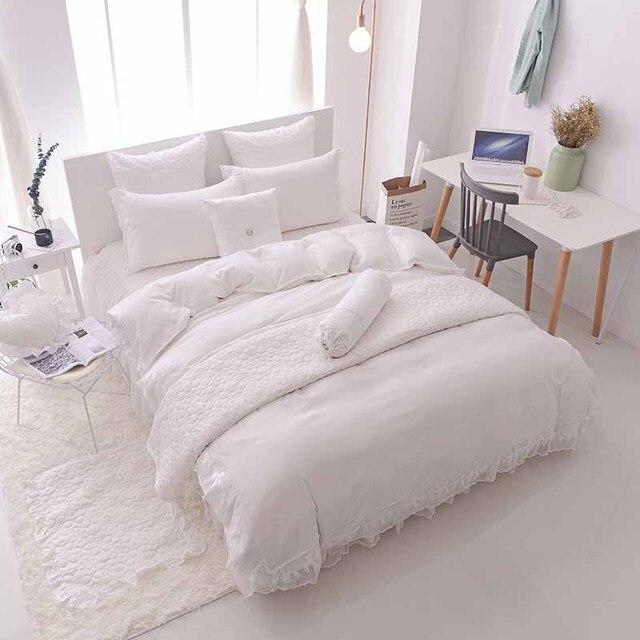 4 pcs babados rendas princesa conjuntos de cama de luxo jacquard de cetim de seda colcha edredon - Edredon de seda ...