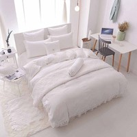 Lace Ruffles Princess Bedding Sets Luxury 4pcs Jacquard Satin Silk Quilt/Duvet Cover Bedspread Bed Skirt sets 100% Cotton
