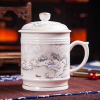 900 Ml Chinese Traditional Tea Cup With Lid Ceramic Blue And White Porcelain Office Large Capacity