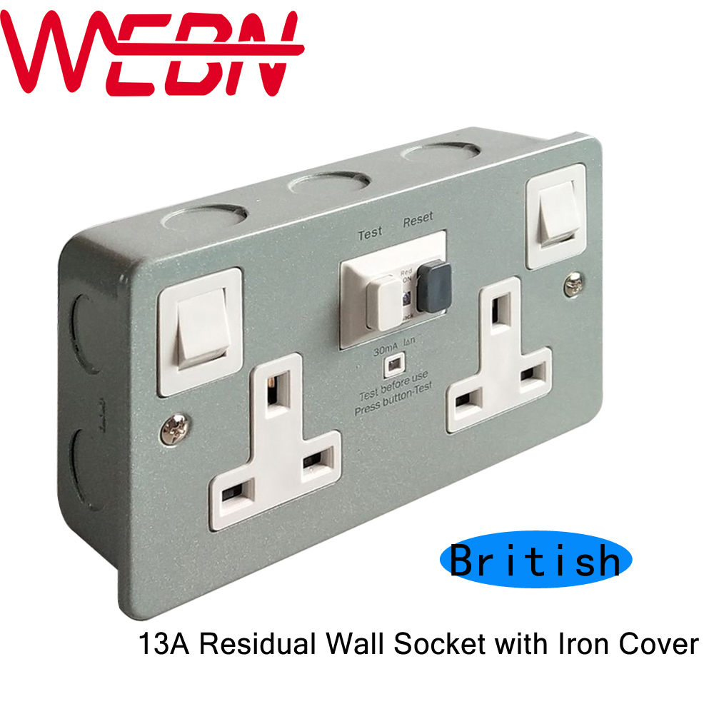 WSKM 2 RCD Residual Current Device Two Switches & Two British Type ...