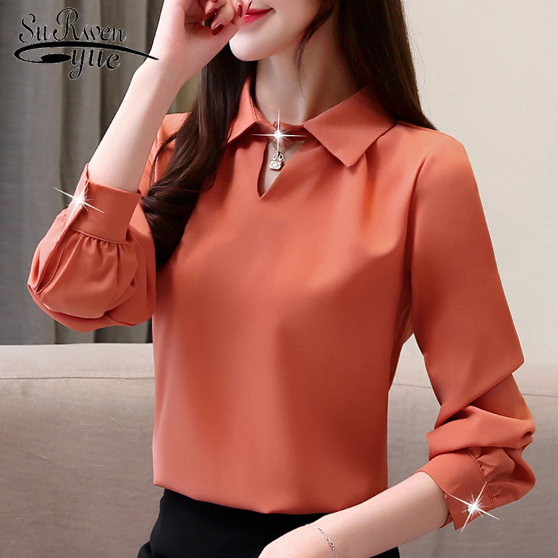 Fashion womens tops and   blouse   office work wear white   blouse   long sleeve women   shirts   chiffon   blouse     shirt   women clothes 2329 50