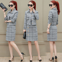 high quality New Fall Winter Designer Runway Suit Set Women's Plaid Tweed Short Jacket Skirt Set Two pieces Set/Business suit