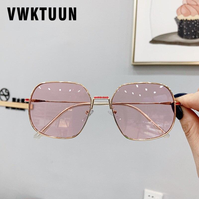 VWKTUUN Square Sunglasses Women Vintage Points Metal Eyeglasses Frame Outdoor Sport Clear Lens Sun Glasses Female Shades UV400