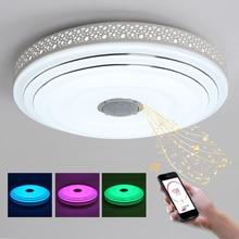 BULE CZAS D47xH12CM Muzyka Lampa Nowoczesne Żyrandole Sufitowe LED Żyrandol Z Kontrolą Bluetooth Zmienia Kolor Oprawę Oświetleniową