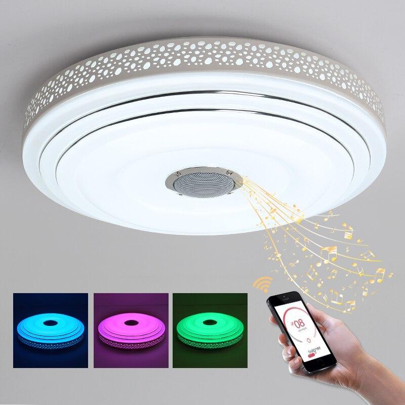 Bule tiempo música moderna lámpara LED lustres con Bluetooth control de color cambiante techo Candelabros Iluminación accesorio