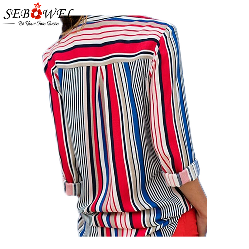 2018 Summer Striped Women Tops and Blouse Plus Size Casual Female Shirts Loose Office Ladies Workwear Blouse Shirts Tops SEBOWEL 2