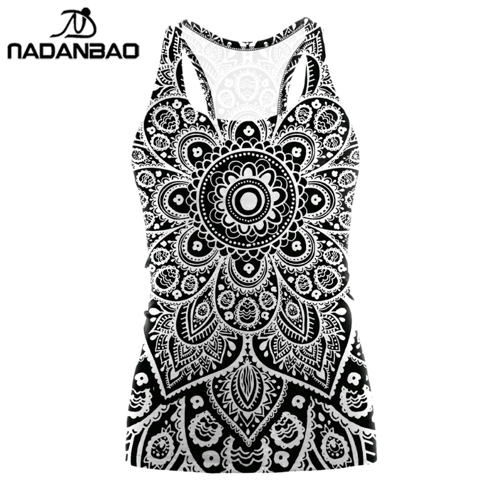 NADANBAO 2019 Digital Printing Mandala Tank Top Tshirt Aztec Round Ombre O-neck Sleeveless Plus Size Tops T shirt Women