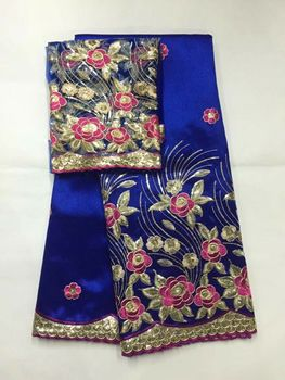 5 Yards Fashion royal blue african George lace fabric with gold sequins flower design and 2yards net lace for clothes JG19-2